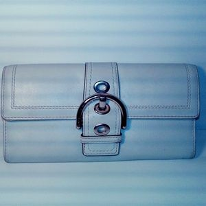 Coach Bone Leather Buckle Flap Clutch Wallet